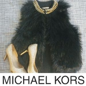 Michael Kors Fur Vest with Accent Gold Chain